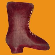Antique Victorian Sewing Red Emory Velvet Boot Pin Cushion