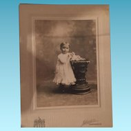 Antique Cabinet Photo Child and His Kitty
