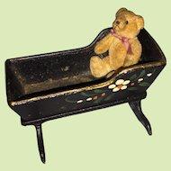 Antique  Painted Cast Iron Miniature Dollhouse Cradle