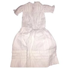 Antique Old Cotton Battenburg Lace Pleated Dress For Antique Doll Or Teddy