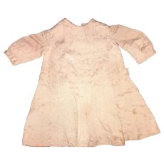 Antique Salmon Colored Pleated Front Doll Dress