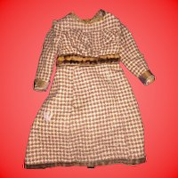 Antique Victorian Brown Wool Gingham Doll Dress