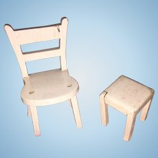 Tynietoy Miniature Dollhouse Side Chair with Small Stool