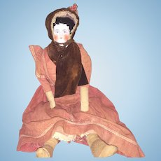 Antique German Mid 1800's China Head Doll