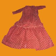 Antique Red Polka Dot Doll Dress For Cloth Doll