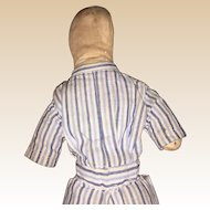 Antique American Cloth Pencil Face Doll