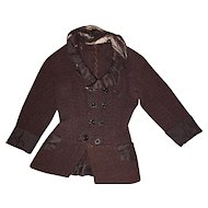 Antique French Fashion Maroon Doll Jacket