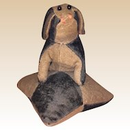 Antique  Victorian Velvet Dog on Pillow Sewing Pin Cushion
