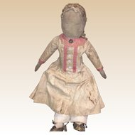 """Antique American 17"""" Stitched Face Cloth Doll"""