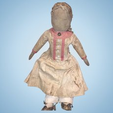 "Antique American 17"" Stitched Face Cloth Doll"
