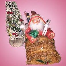 Bethany Lowe German Style Santa In Loofah Sponge Car