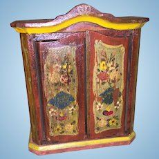 Antique German Wooden Painted Dollhouse Miniature Vanity Armoire