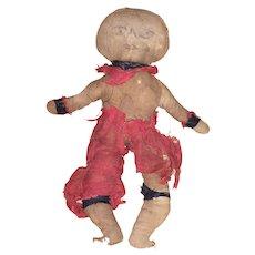 Antique Folk Art Civil War Black Americana Cloth Rag Doll - Red Tag Sale Item