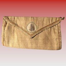 Antique Early Folk Art Linen Homespun Theorem Teddy Bear Pocket Textile