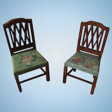 2 Tynietoy Sheraton Green Painted Floral Chairs