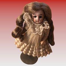 Kestner 134 Antique Mignonette Bisque Swivel Head Glass Eyed Dollhouse Doll
