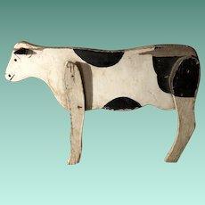 Antique Folk Art Wooden Painted Cow