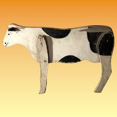 Antique Folk Art Wooden Painted Cow