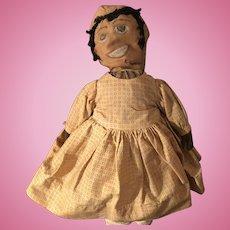 Antique  Folk Art All Original Black Cloth Rag Doll