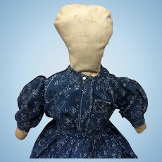 Antique American Folk Art Cloth Rag Doll With Calico Dress