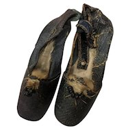 Antique Early Black Fashion Doll Shoes