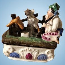 Antique German Victorian Figural Boy and Dog Hunting Bisque Glazed Fairing