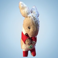 Vintage  Mohair Old Made In England Straw Stuffed Bunny
