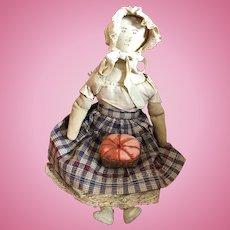 Antique American Folk Art Cloth Ink Face Doll