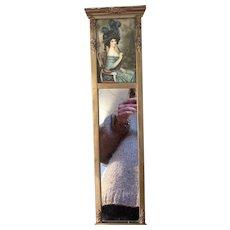 Antique Victorian  Lithograph Gold Guilt Gesso Long Parlor Mirror