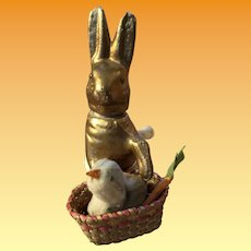 Antique German Paper Mache Rabbit Candy Container With Basket With Carrots And Spun Cotton Chick