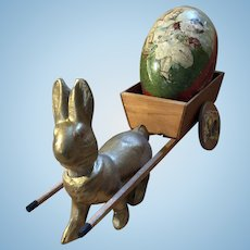 Antique Paper Mache Bunny Candy Container with Pull Cart With Early German Dresden Lithograph Easter Egg