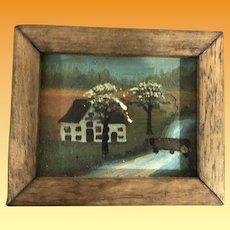 Antique Miniature Dollhouse Painting Landscape