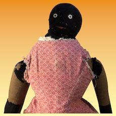 Antique Folk Art Black Americana Cloth Rag Doll