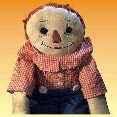 Antique Vintage Homemade Folk Art Raggedy Andy Cloth Rag Doll