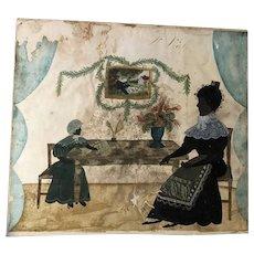 Antique Folk Art Early Watercolor Silhouette