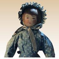 Antique American Folk Art Painted Face Cloth Church Doll