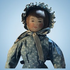 Antique American Folk Art Painted Face Cloth Church Doll
