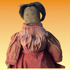 Antique Pencil Face Early Cloth Doll