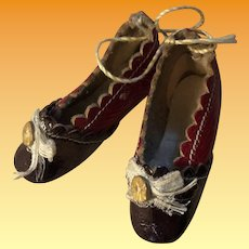 Antique Miniature Fashion Patent Leather Two Tone Doll Shoes