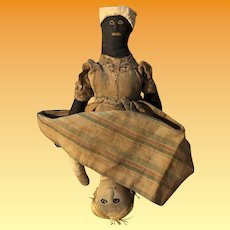 Antique Folk Art Americana Miniature Topsy Turvy Early Cloth Doll