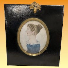 Antique Victorian Silhouette Watercolor  Portrait