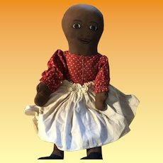 Antique Cottage Industry Cloth Painted Face Black Doll
