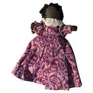 Antique Hand Held Cloth Black Americana Rolled Church Doll