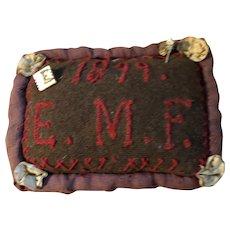 Antique Cloth Make Do Stitched Sampler Pin Cushion