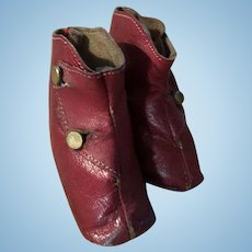 Antique Red Leather French Fashion Doll Boot Shoes