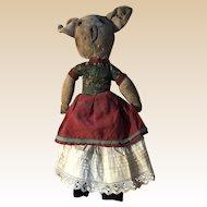 Antique Folk Art American Rag Doll Piggy