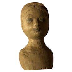 Antique Folk Art Miniature Wooden Doll Head