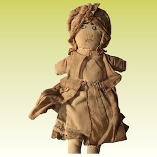 Antique Stitched Face Cloth Flat Doll