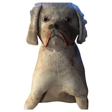 Antique Straw  Stuffed Glass Eyed Doggy