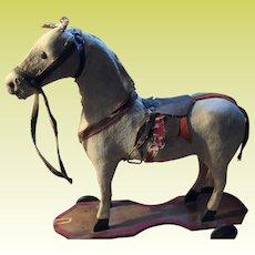Antique Platform Felted Horse On Wheels